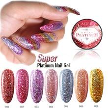 Azure Beauty Platinum Glitter UV Nail Gel Polish Shiny Sequins Hybrid Gel Led Soak Off Nail Enamel Semi Permanent Led Gel Enamel цена 2017