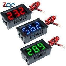 0,56 ''Мини светодиодный цифровой вольтметр детектор постоянного тока 0-100 в 12 В 24 В напряжение ёмкость монитор Вольт Панель тестер метр для мот...