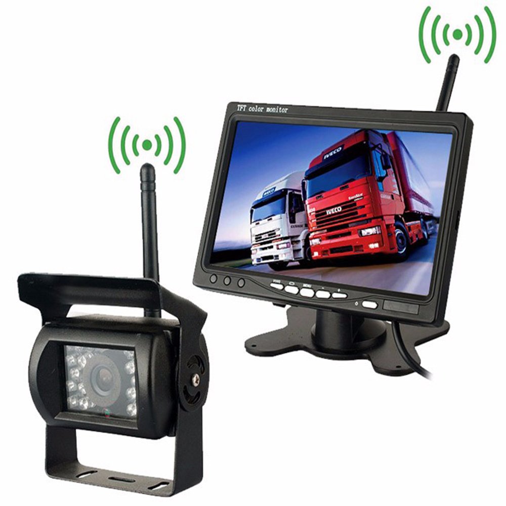 Wireless Vehicle Backup Camera & IR Night Vision 7 inch HD Monitor Car Rear View Cameras for Truck Parking Assistance Waterproof water resistant 2 4ghz wired car rear view camera w 7 ir night vision led black pal