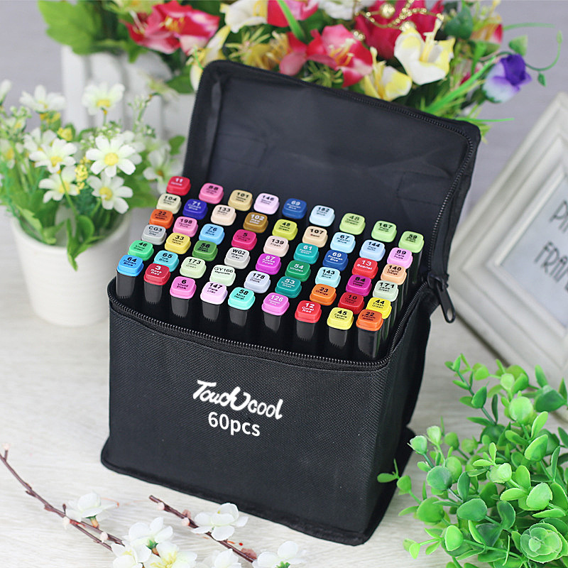 Markers Pen 60 Color Art Sketch Paint Animation Graphic Twin Tip Touch New Five