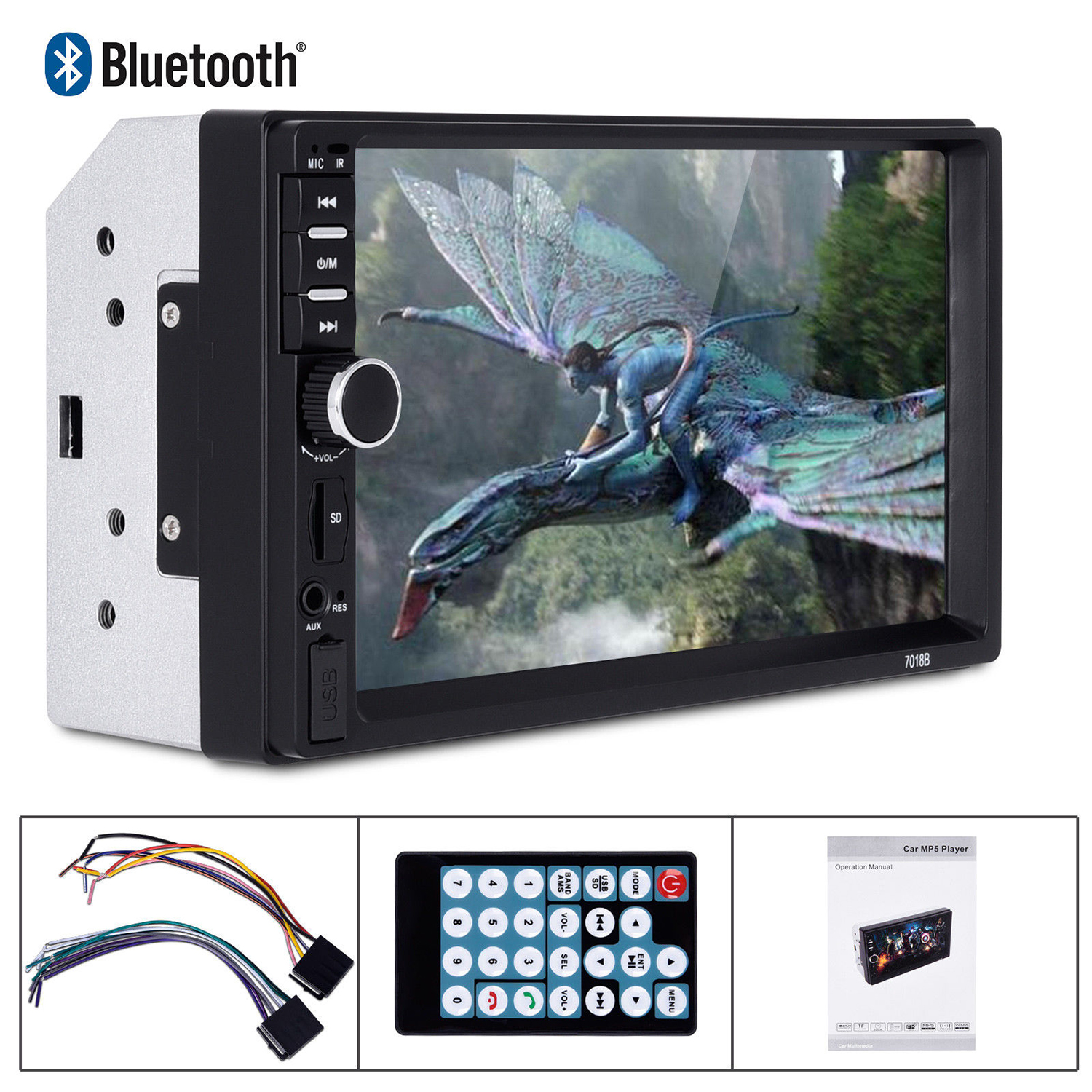 New 7 2 Din Touch Screen Car MP5 Player Bluetooth Stereo FM Radio USB/TF AUX In With Rear View Camera