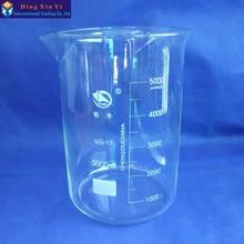 SHUNIU Glas becher 5000 ml, Labor becher 5000 ml, niedrigen form mit graduation und auslauf Boro 3,3 Glas Chinesische berühmte marke