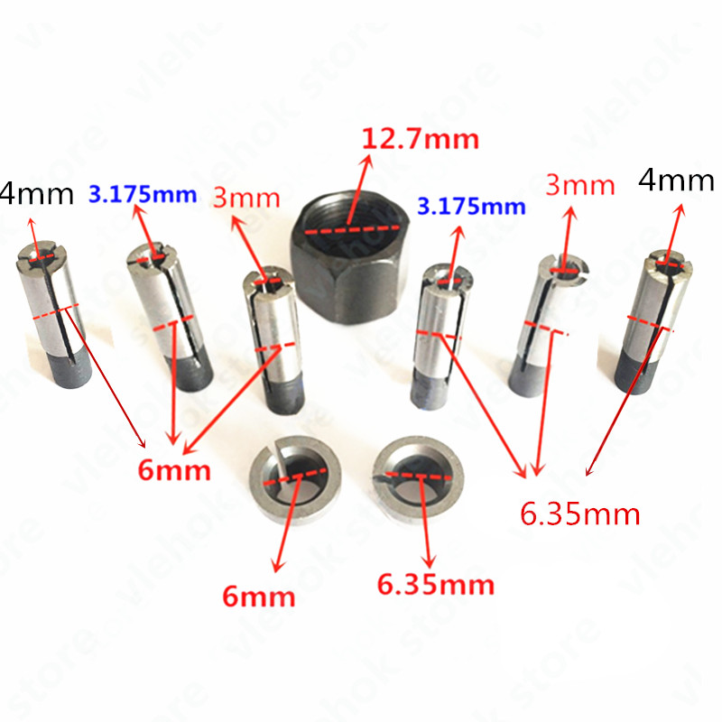 Collet Nut Cone 6mm 6.35mm Replace For BOSCH GKF550 Power Tool Accessories Electric Tools Part