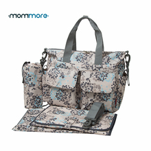 mommore 5pcs Diaper Bag Deluxe Designer Nappy Bag Changing Pad Mother Tote Bags Mummy Handbags Waterproof Baby Stroller Bag