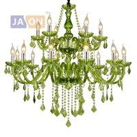 Led e14 europeu ferro de cristal vidro tecido verde iluminação lustre lampen para foyer luminária suspensão lampen para