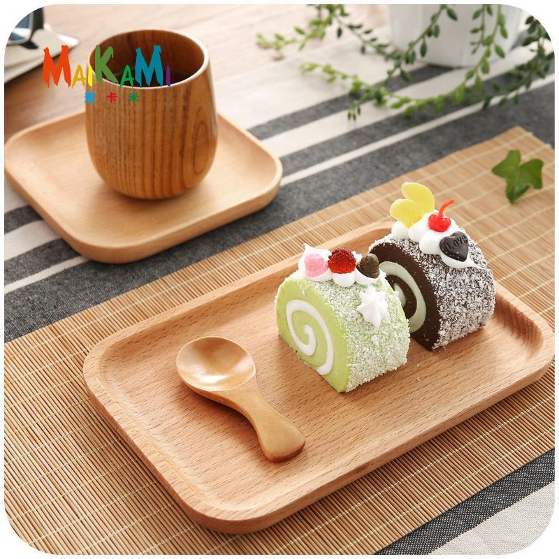 1 pcs Japonais Créations En Bois Fruits Dessert Servies Plat Prato Bois Alimentaire Bonbons Café Dîner Plaques Plateau Vaisselle