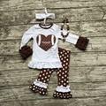 Niñas de fútbol outfit juegos de ropa niñas muchachas de la ropa del fútbol del corazón blanco con marrón de lunares pant looks con accesorios