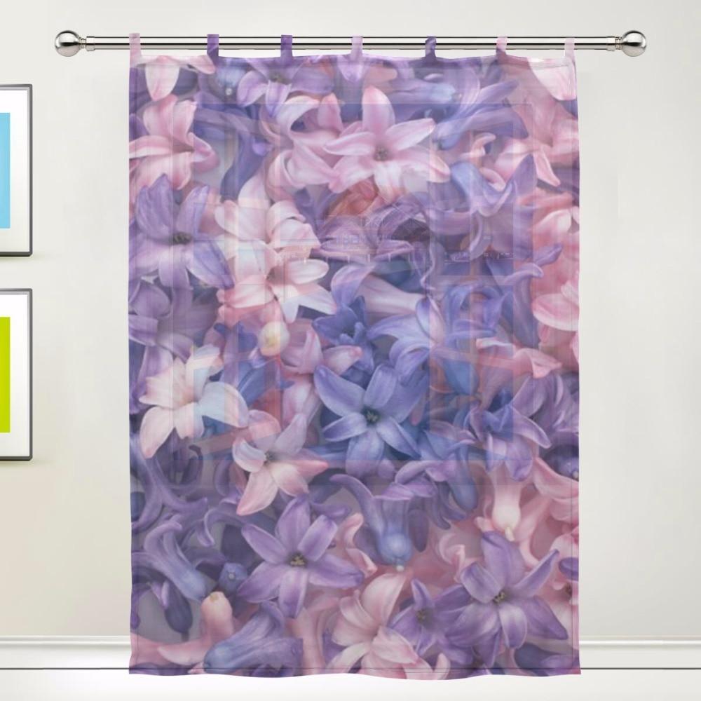 Sheer plum curtains - Pattern Floral Print Tulle Voile Door Window Room Sheer Curtain Drape Gauze Purple Flower Scenery