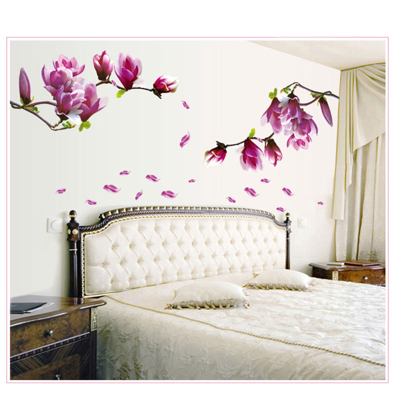 1pc magnolia flower wall stciker 3d vinyl wall decals for Floral bedroom decor