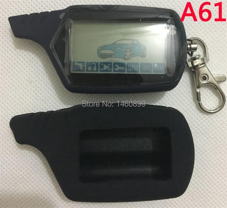 Deux-façon A61 LCD Télécommande Clé + Silicone Clé cas pour Anti-vol Twage StarLine A61 démarrage du moteur 2 voies système d'alarme de voiture
