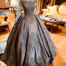 Long Evening Dress 2018 Real Sample Boat Neck Nude Long Sleeve Beaded  Applique Silver Arabic Style 14c8dbfe0ca6
