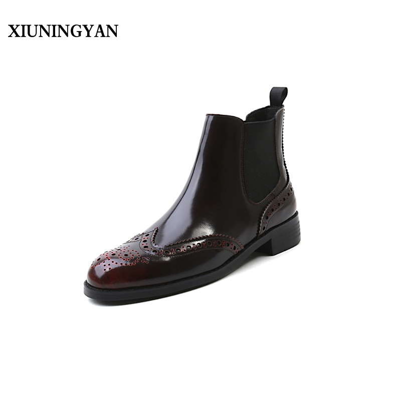XIUNINGYAN Women Boots Genuine Leather Ankle Boots Fashion Shoes Woman Slip on Autumn Winter Chelsea Boots Plus Size for Women martine women ankle boots flat with chelsea boots for ladies spring and autumn female suede leather slip on fashion boots
