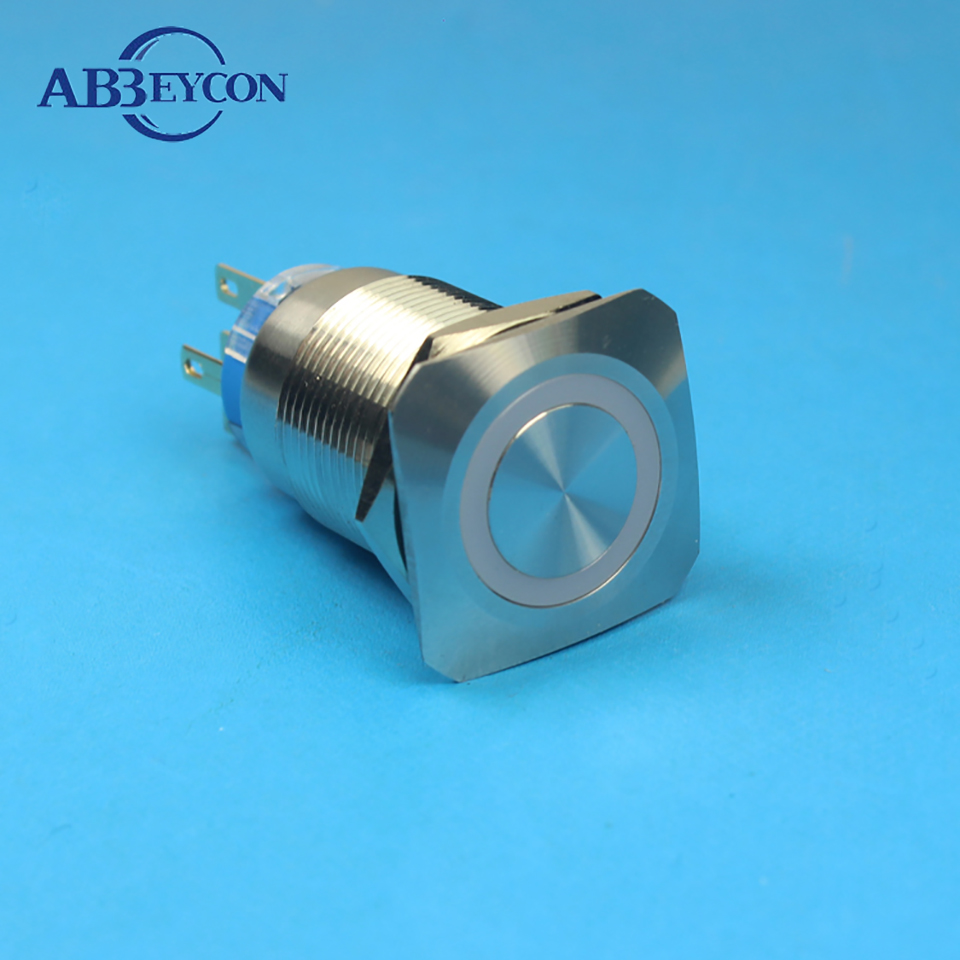 Abbeycon 30mm Flat Head Stainless Steel Metal Waterproof Pin Dc 24v Push Button Selflock Switch Led Light Momentary Latching 19mm Square Illuminated Shell Terminal