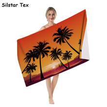 Silstar Tex 3D Printing Palm Tree Geometry Beach Towel Microfiber Bath Towels Camping Sport Yoga Bathroom Wrap