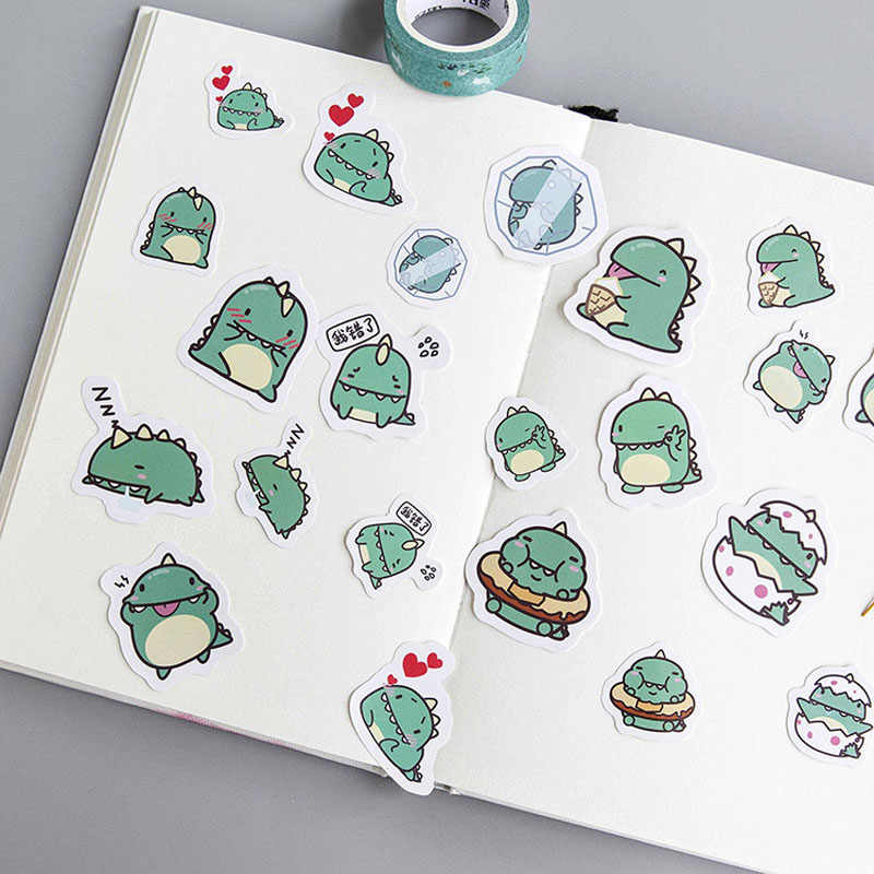 Pegatina de papel para decoración DIY de pequeño dragón verde, 40 Uds., Ablum álbum de recortes diario, etiqueta adhesiva bonita, papelería TZ100