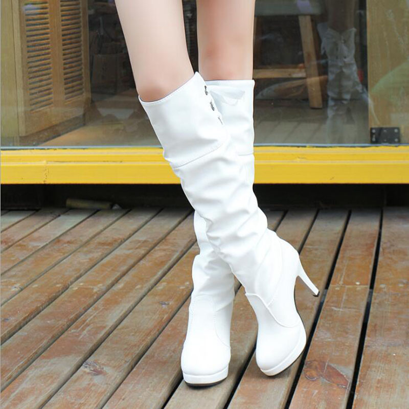 Women Winter Boots High Heels Sexy Thigh High Boots Over The Knee Boots For Women Knee High Boots White Slim Shoes Women faux suede slim boots sexy over the knee high women snow boots women s fashion winter thigh high thick heels boots shoes woman