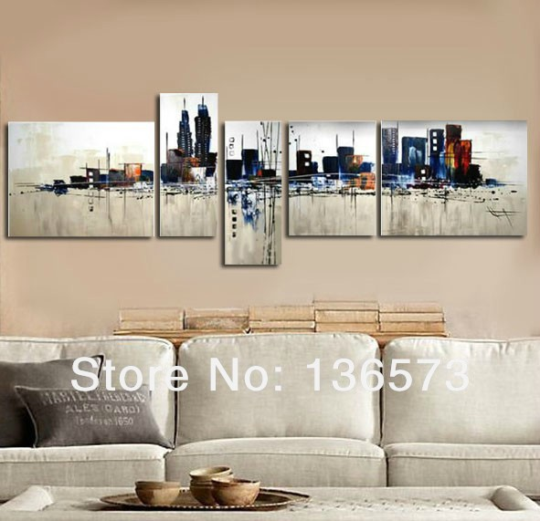 New York City Picture Canvas Painting Modern Wall Art: Hand Painted 5 Panel Wall Art Set Night New York City