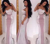 Hot 2019 Cheap Bridesmaid Dresses Under 50 Mermaid Sweetheart Satin Appliques Lace Long Wedding Party Dresses