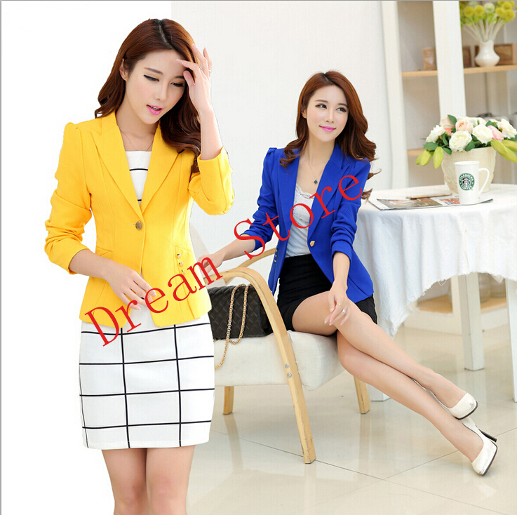 2015 blazer women one button ladies' candy suits jacket 4 color sizes hot feminino - Dream store