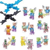 18pcs Lot Mine World Shadow Dragon Crystal Zombie Steve Skeleton Compatible Legoing Minecrafted Building Blocks Bricks