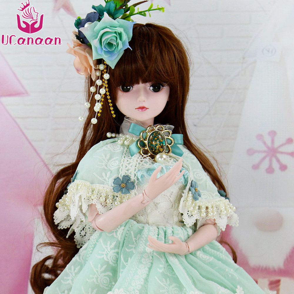 UCanaan 1/3 Bjd Doll 60CM Princess Girls Dolls For Children Free Face Make UP Human Body With All Outfit Dress Wig DIY Kids Toys 5cm pu leather doll princess shoes for bjd dolls lace canvas mini toy shoes1 6 bjd snickers for russian doll accessories