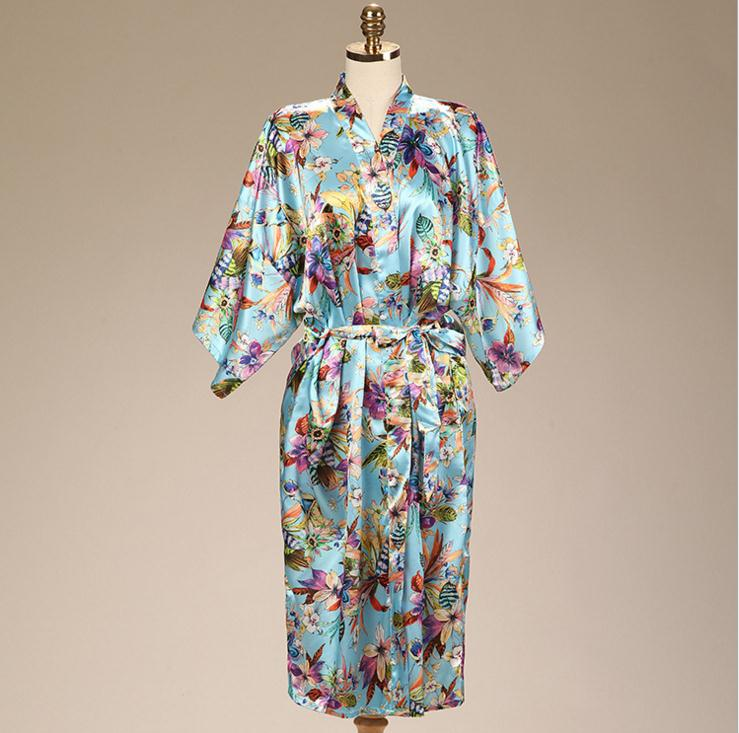 Summer New Womens Print Satin Long Robe Flower Kimono Yukata Bath Gown Lady Nightwear Sleepwear Nightgown S M L XL XXL JA02