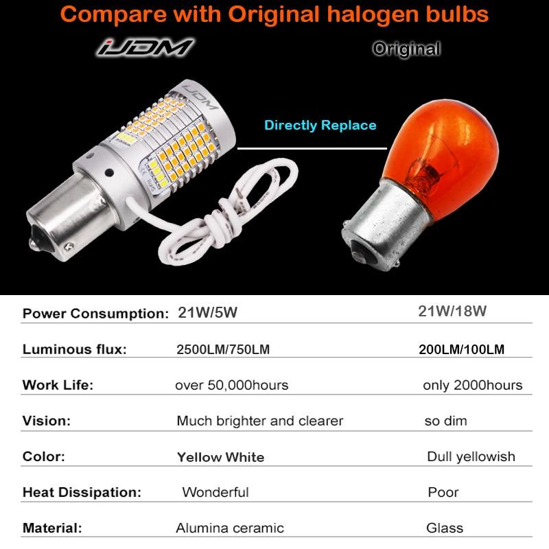Image 5 - iJDM No Hyper Flash 21W BAU15S LED Canbus BA15S 1156 LED Switchback White/Amber LED Bulbs For Daytime Running/Turn Signal LightsSignal Lamp   -