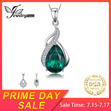 JewelryPalace Pear Nano Russian Simulated Emerald Pendants 925 Sterling Silver Pendants Necklaces Without Chain Fine Jewelry(China)