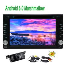 "Android 6.0 Double Din Car Stereo in dash GPS Navigation 6.2"" Radio Head Unit Bluetooth Wifi Mirror link 4Core+Wireless Camera"
