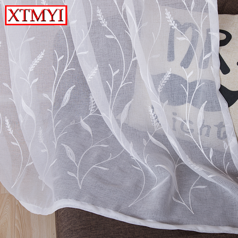 Witte geborduurde gordijnen voor Living Room Sheer Curtains For Window Bedroom Lace Curtains Fabrics Drapes