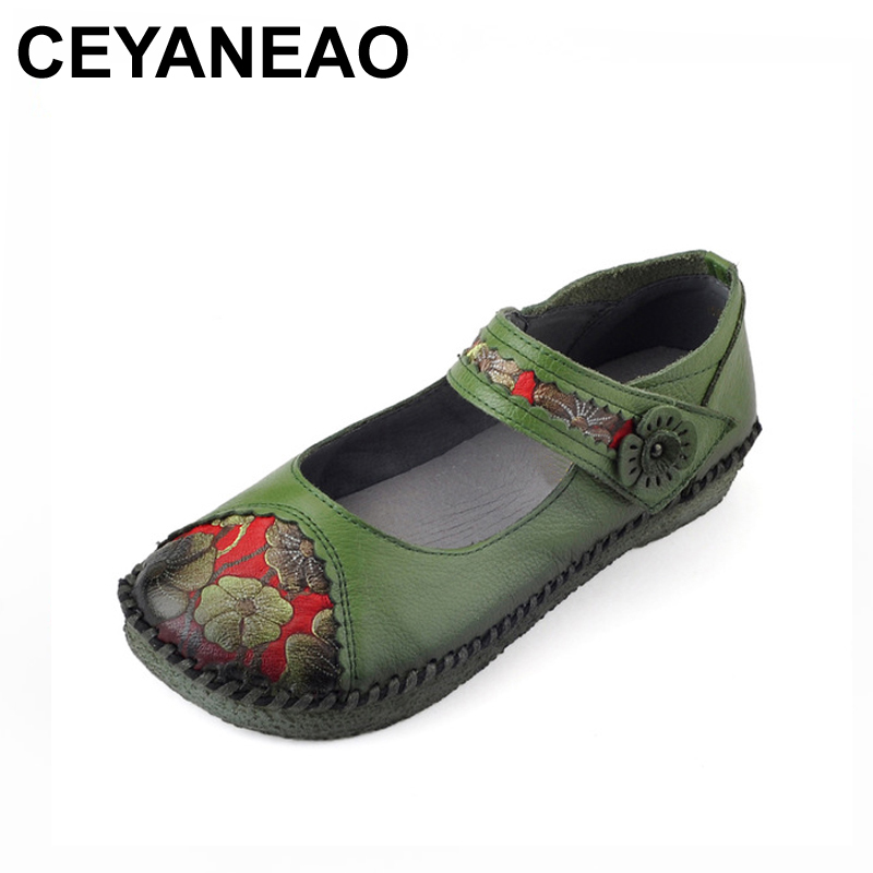 CEYANEAO 2018Spring Handmade Women's shoes Genuine Leather Flats Flower Casual Shoes Woman Loafers Fashion Slip On Women's Flats artmu woman flowers cowhide shoes fashion slip on genuine leather woman handmade casual shoes chaussure noire femme shoes