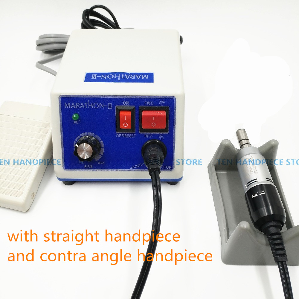 2018 new dental Lab micromotor polish handpiece with contra angle & straight handpiece SEAYANG MARATHON 3 + Electric Motor deasin new arrival inner and outer waterway dental electric motor straight contra angle handpiece