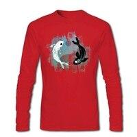 Инь Ян кои рыбки футболка Для мужчин делает натуральный музыкально Футболки с для Для мужчин винтажная одежда