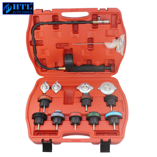 цена 14PC Car Tool Universal Water Tank Detector Radiator COOLING SYSTEM Pressure Tester Kit