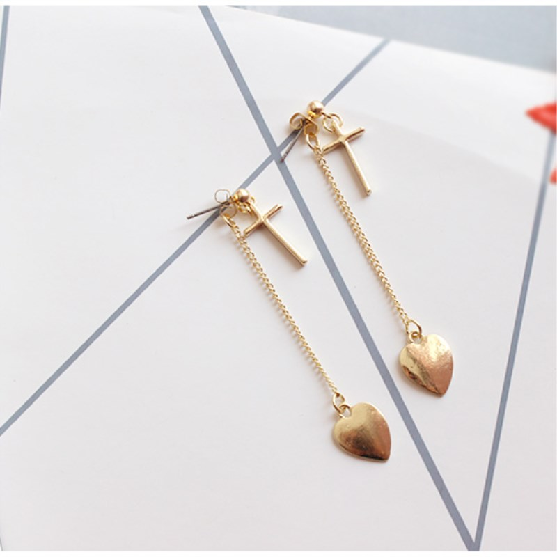 Free Shipping Womens Fashion Jewelery Personality Simple Girl Heart Pendant Long Earrings Accessories wholesale