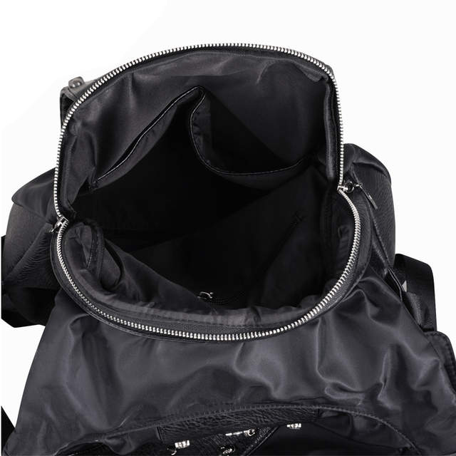 3d5fb5498fa6 New 2018 Fashion Personality 3D skull leather backpack rivets skull  backpack with Hood cap apparel bag