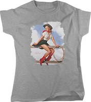 Women Brand Famous Clothing Funny Short Sleeve Cotton T Shirts Pin Up Cowgirl Hi Ho Silver