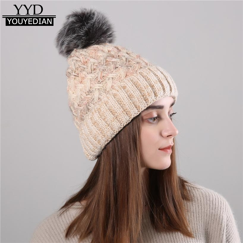 73540f87031ce Gorros Mujer Invierno 2017 Women s Knitted Wool Cosy Warm Beanies Winter Hat  Crochet Cap Pom Pom Hats For Women Ladies  1117-in Skullies   Beanies from  ...