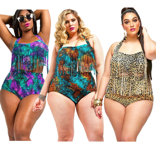 82cdd2da4e8 Sexy Leopard Plus Size Swimsuit Snakeskin Printed Fringe Tassels Bikini  Sets Women High Waist Padded Two Pieces Bathing Suit