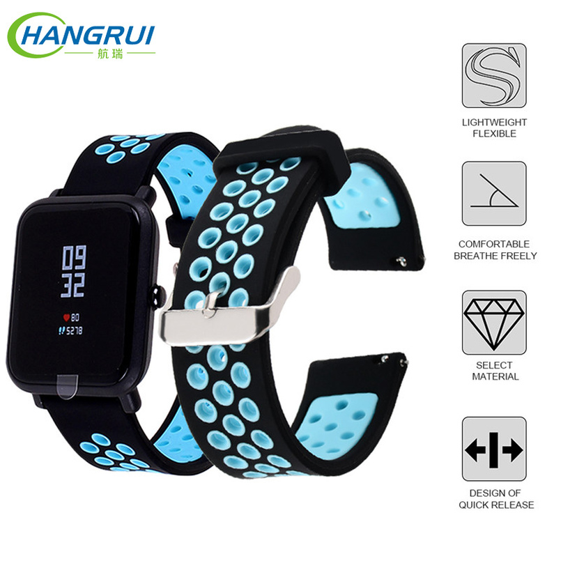 Hangrui Straps For Amazfit Bip Smart Watchband Silicone Wirstband Xiaomi Pace Bracelet