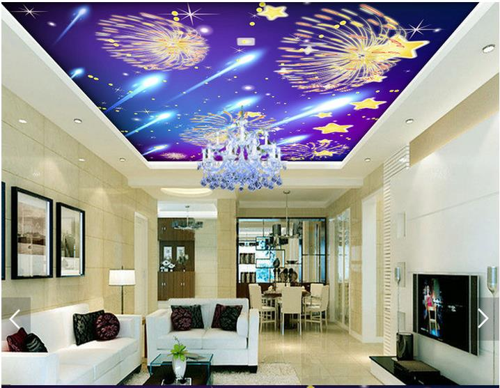 3D wallpaper custom 3d ceiling wallpaper mural Meteor shower only beautiful fireworks condole top 3d living room photo wallpaper