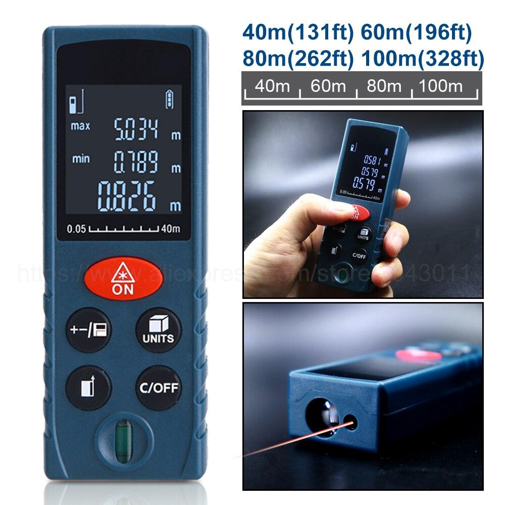 купить Handheld Laser Rangefinders High Precision Infrared Laser Distance Meter Electronic Ruler Area/Volume/Pythagoras 40m60m80m100m по цене 1222.6 рублей