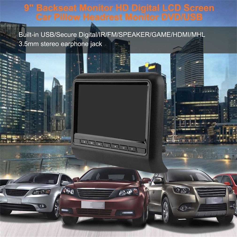 9 Backseat Monitor HD Digital LCD Screen Car Pillow Bracket Headrest Monitor DVD/USB Player IR FM Transmitter9 Backseat Monitor HD Digital LCD Screen Car Pillow Bracket Headrest Monitor DVD/USB Player IR FM Transmitter