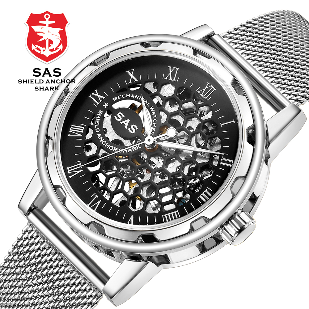 SAS Luxury Brand Mens Fashion Honeycomb Skeleton Hollow Mechanical Watches Stainless Steel Mesh Bracelet Business Dress Watch  SAS Luxury Brand Mens Fashion Honeycomb Skeleton Hollow Mechanical Watches Stainless Steel Mesh Bracelet Business Dress Watch