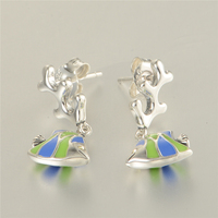 Compatible With Chamilia Jewelry Enamel GoldFish Stud Earrings 100 925 Sterling Silver Earring Women Christmas Jewelry