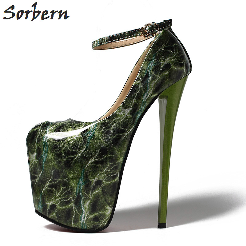 Sorbern 19Cm Ultra High Heel Party Shoes Pumps Night Club Footwear Black Shiny Women Pumps Ankle Strap Pseudo-Male Shoes