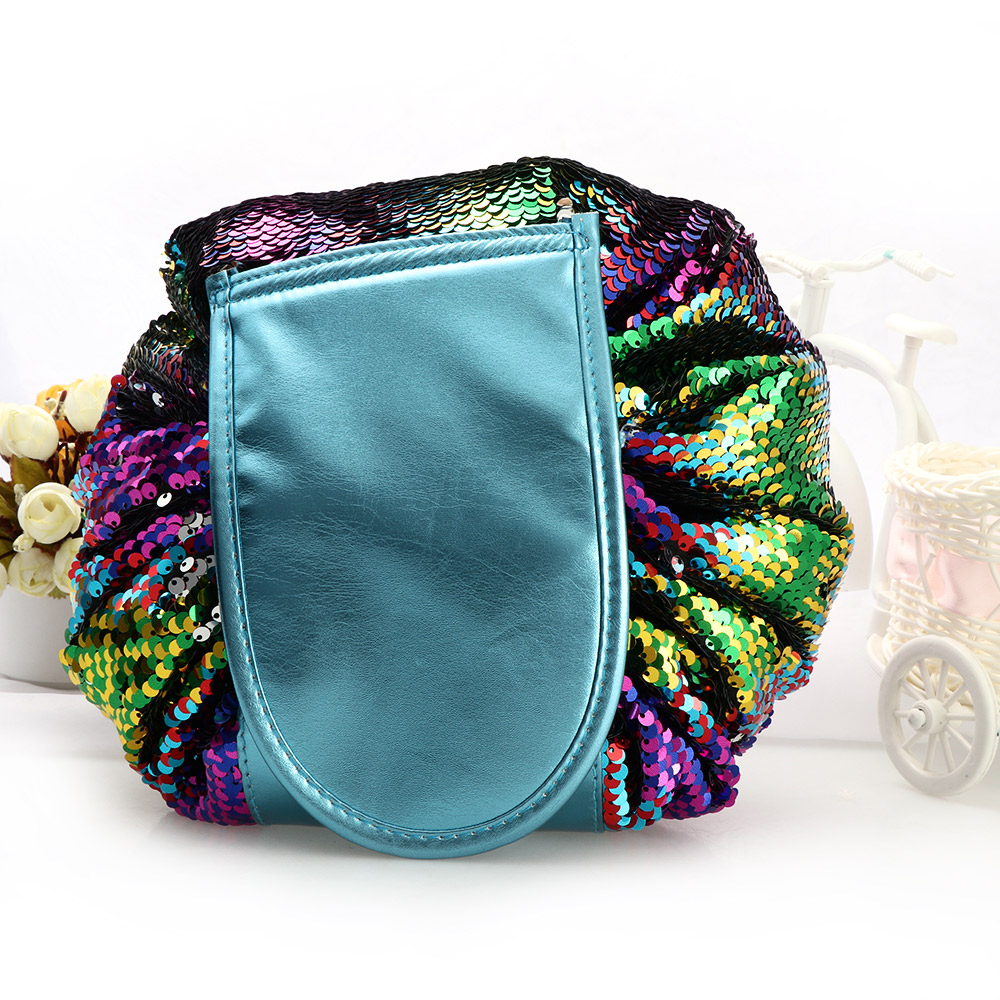 fa39313f948f Women Fashion Mermaid Sequin Drawstring Cosmetic Bag Waterproof Travel Makeup  Bag Case Wash Organizer Pouch Foldable Magic Bag-in Cosmetic Bags   Cases  from ...