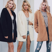 Women Warm Faux Fur Long Sleeve Jacket Coat Solid Waistcoat Outerwear 2017 Plus Size 3XL Women