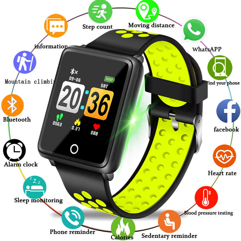 LIGE New Fashion Sport Smart Bracelet Women Fitness Wristband Blood Pressure Heart Rate Monitor Pedometer Watch IP67 Waterproof