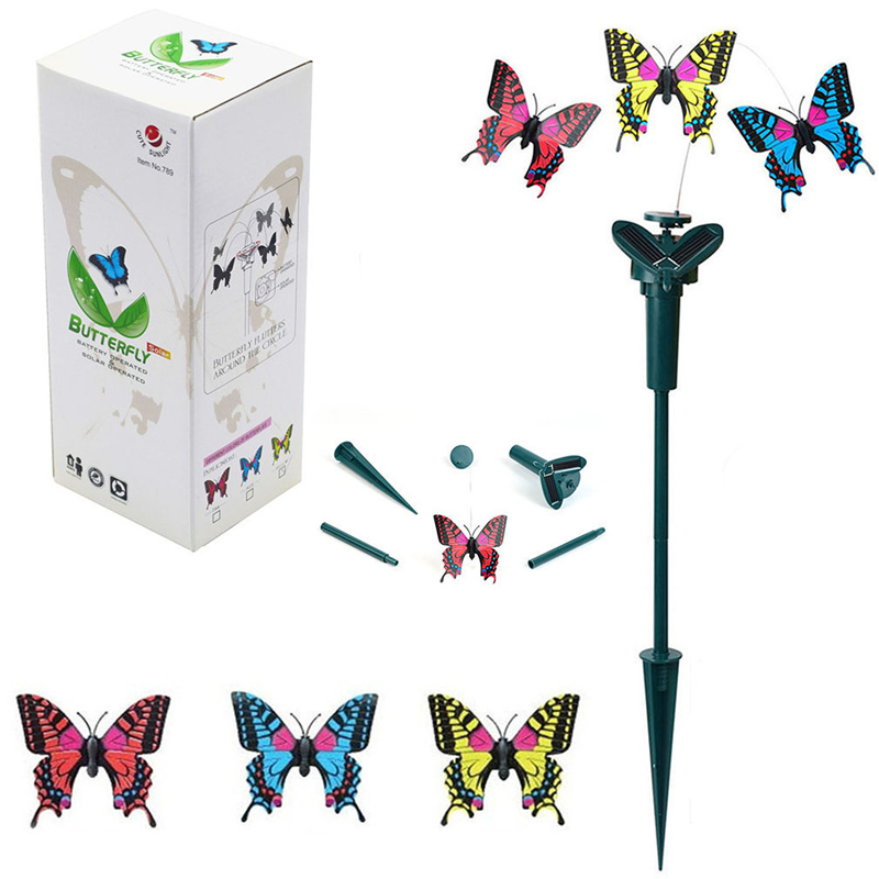 2pcs Novelty Solar Energy Flying Butterfly Toy Villa Garden Decoration  Supplies Solar Toys Birthday Gift Butterfly